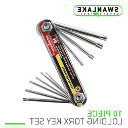 10 PC Tamper Proof Star Key Set Folding Locking Torx securit