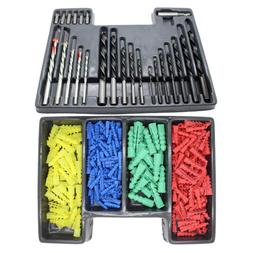 300pc Masonry Wood HSS Metal Drill Bit Set with Screwdriver