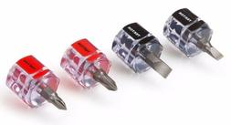 4 Piece Mini Stubby Screwdriver Set-2 Phillips, 2 Slotted  T
