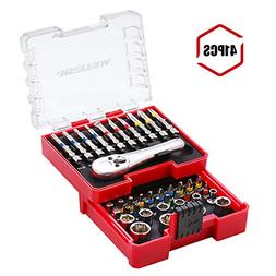 Meterk 41 Pcs Mini Ratchet and Bit Set Socket Wrench Screwdr