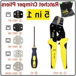 5 in 1 Ratcheting Wire Terminal Crimper Crimping Pliers Tool