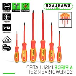 6pc Electrician's Insulated Magnetic Electrical Hand Screwdr