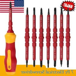 7pc Electrician's Insulated Magnetic Electrical Hand Screwdr
