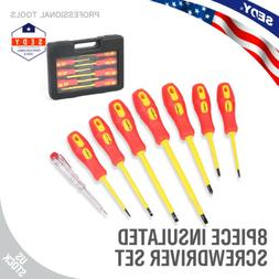 8pc Insulated Electrician Screwdriver Set Magnetic Tip Slott