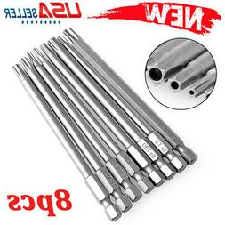 8pc Torx Screwdriver Bit Set Hex Security Magnetic Head 100m
