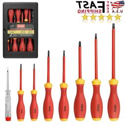 8Pcs Electrician Insulated Magnetic Hand Screwdriver Set Too