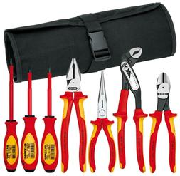 Knipex 989825US 7-Piece 1000V Insulated Pliers, Cutters, and