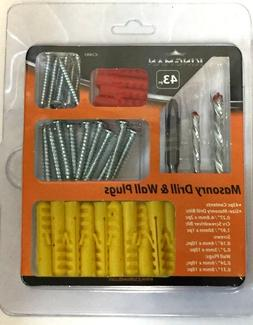 Pack of  43 Masonry Drill & Wall Plugs + Screw + Screw Drive