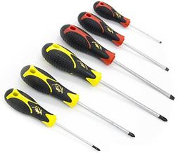 Screwdriver Set 6 Pieces Phillips and Slotted NON-SLIP WIDE