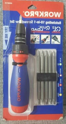 WORKPRO Ratcheting Multi-bit Screwdriver Set with Bits 10-in