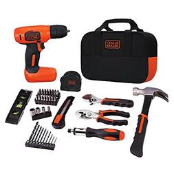 BLACK+DECKER 8V Drill & Home Tool Kit, 54 Piece