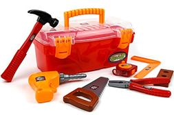 Toysery 24 Pieces Complete Kids Toy Tools Set - Fun Tool Box