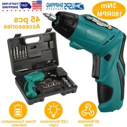 Cordless Electric Screwdriver Set Rechargeable With 45 Drill