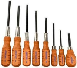 GRACE USA HG-8 Screwdriver 8PC Set w/Hollow-ground Flat Fott
