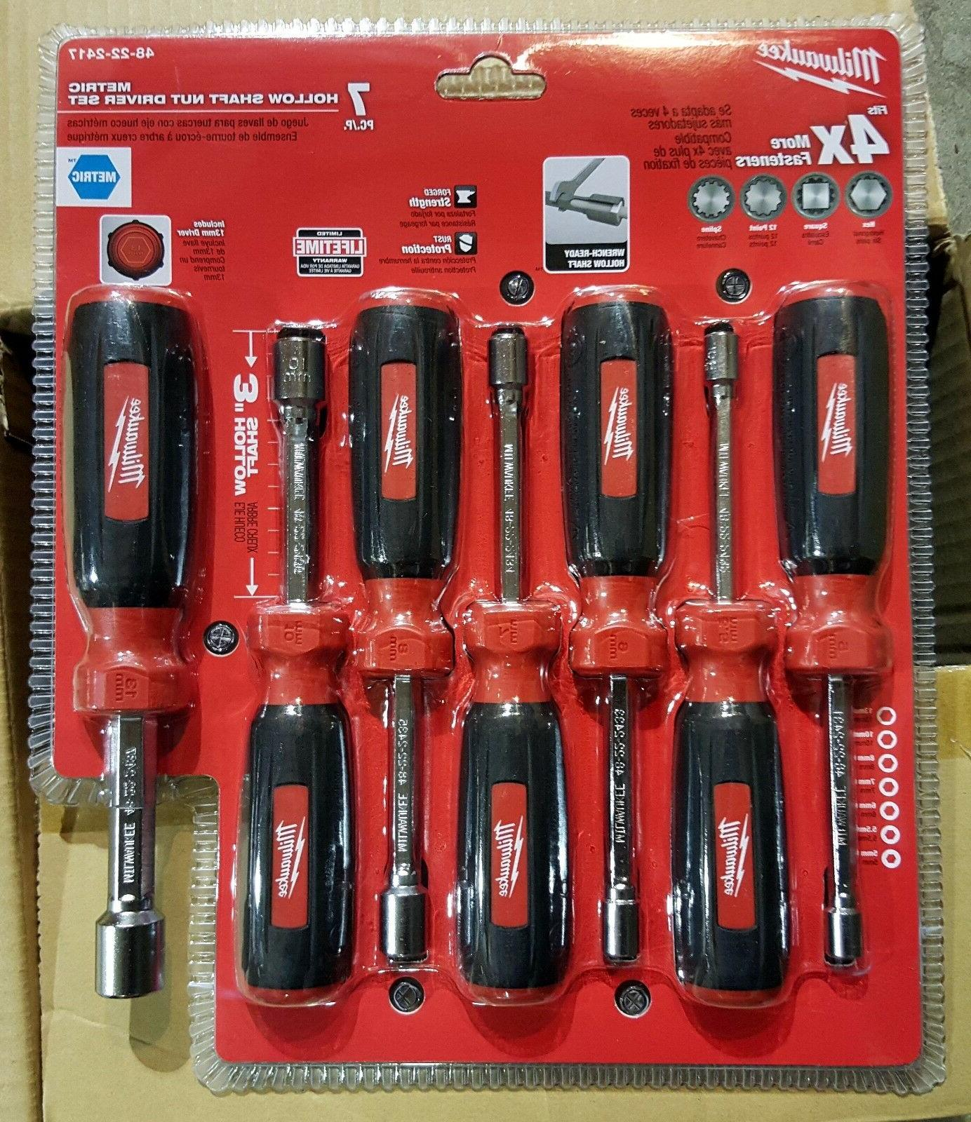 MILWAUKEE 48-22-2417 7 PC Hollow Shaft Metric Nut Driver Set