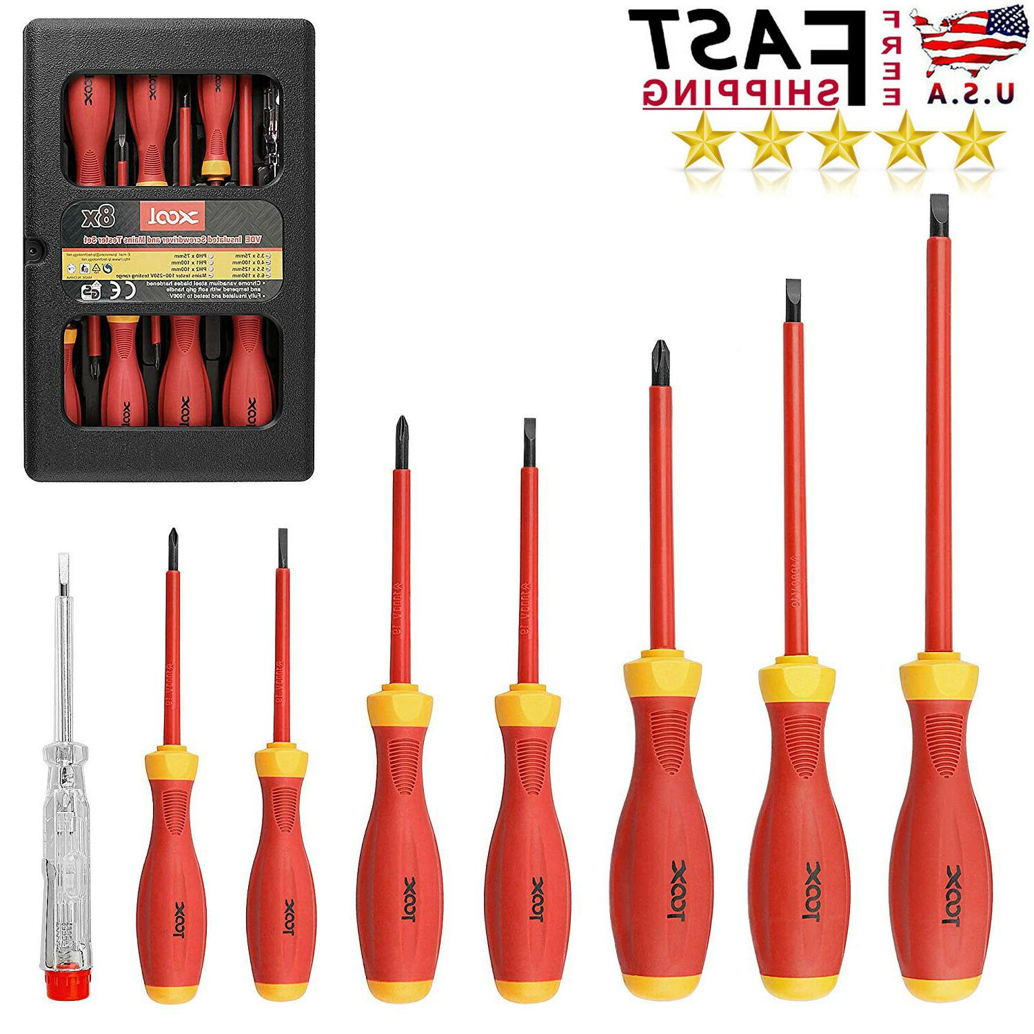 8pcs electrician insulated magnetic hand screwdriver set