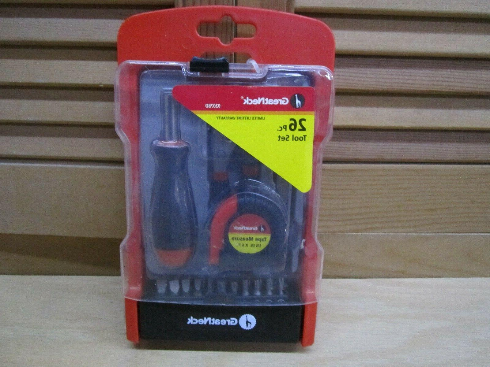 GREAT NECK 26-PIECE TOOL SET WITH SCREWDRIVER PLIERS KNIFE T