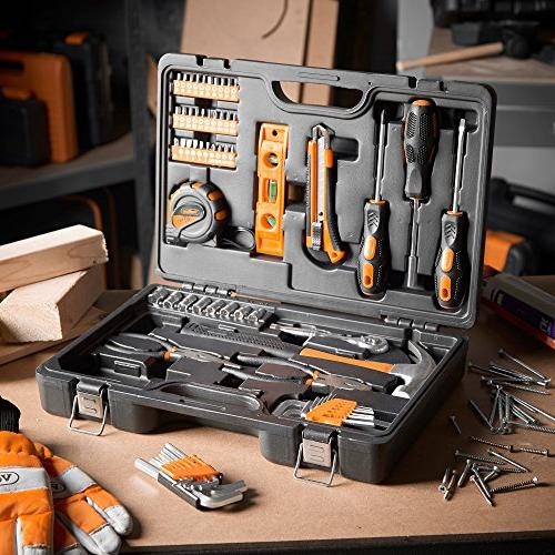 VonHaus 65 DIY General Tool Kit with Ratchet Screwdriver Pliers in Storage - Perfect Gift Beginners