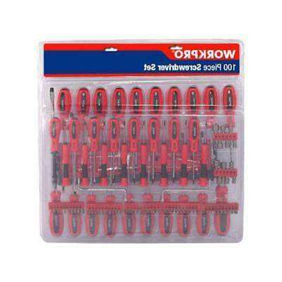 WorkPro 100PC Screwdriver With Carbon Steel Shaft Set 225281