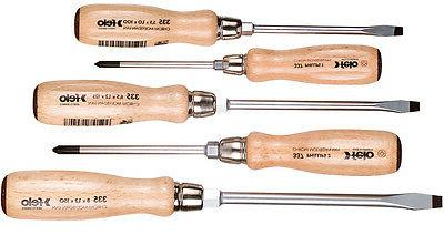 Felo 5pc Beechwood Slotted & Phillips ScrewDriver Set German