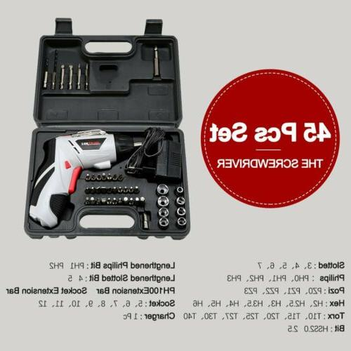 Electric Cordless Screwdriver Rechargeable Kit