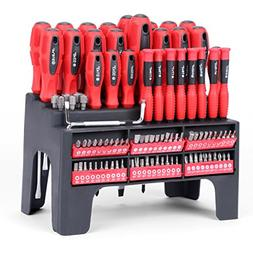 HORUSDY 100-Piece Magnetic Screwdriver Set with Plastic Rack