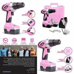 Pink Power Drill PP182 18V Cordless Electric Drill Driver Se