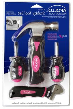 Apollo Tools DT0240P Stubby Tool Set in Pink, 4-Piece, with