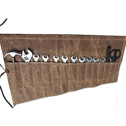 Roll Up Tool Pouch Wrench Socket Slot Organizer Canvas Tools