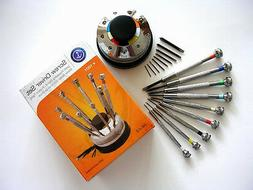 Screwdriver Set 9pc rotating Stand Swiss watch makers hobby