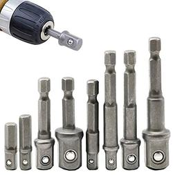 "8Pcs Socket Adapter Impact/Extension Set,1/4"" 3/8"" 1/2"" Impa"