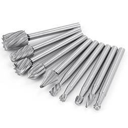 HENGSONG 10Pcs 1/8 Inch High Speed Rotary File Burrs Bit Set