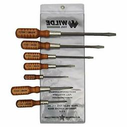 Wilde Tool SW7 Wooden Handle Mix Screwdriver Set, 7-Piece