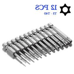 Torx Head Screw Driver Bit Set, Sihek 12pcs 1/4 Inch Hex Sha