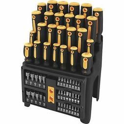 Performance Tool W1731 Screwdriver and Bit Set with Rack, Ye